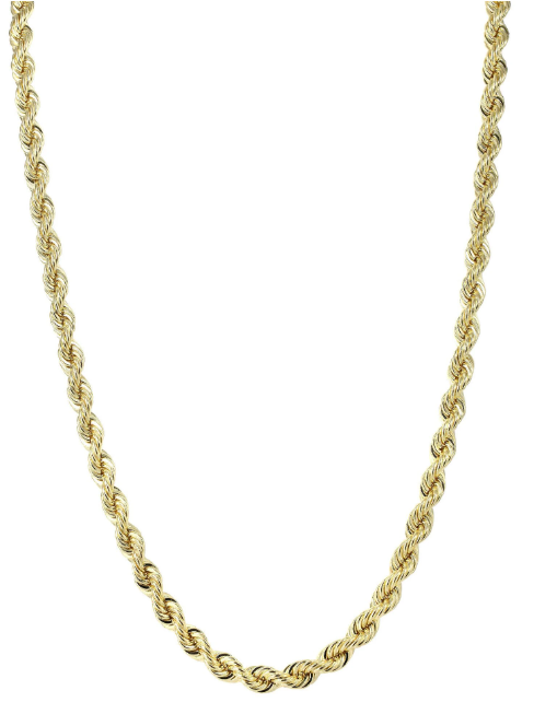 Men's 14k Rope Chain  - 14k Solid Gold Rope Chain  Product Image