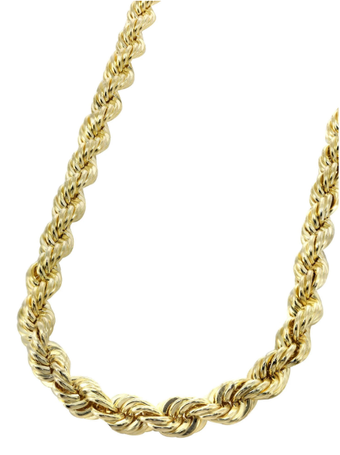 14k Solid Gold Rope Chain - Men's 14k Rope Chain - Product Image